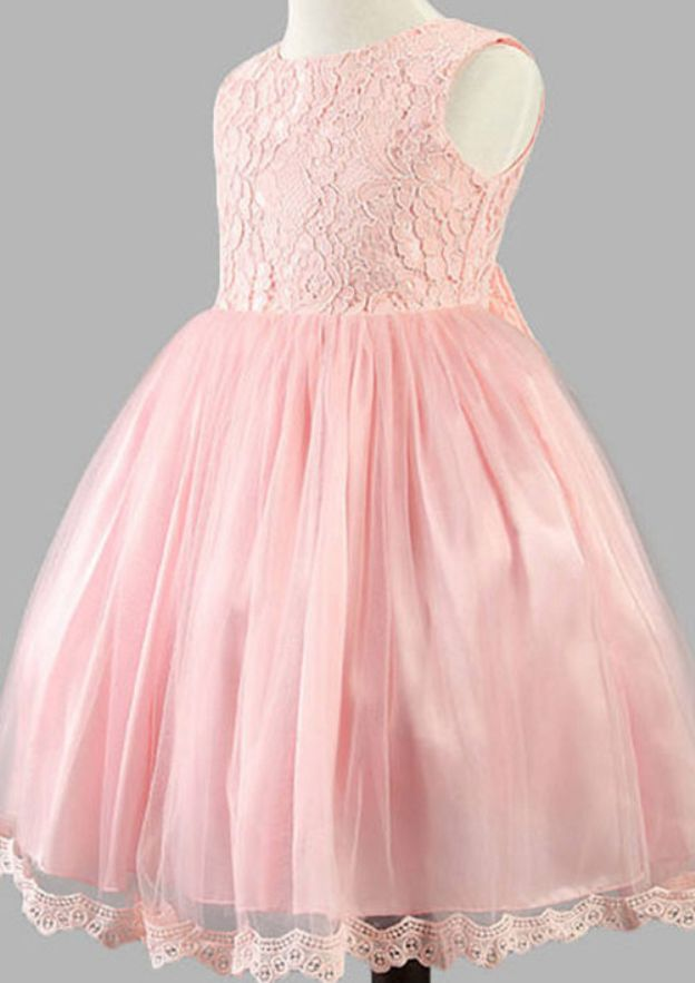 A-Line/Princess Bateau Sleeveless Ankle-Length Tulle Flower Girl Dress With Bowknot Lace