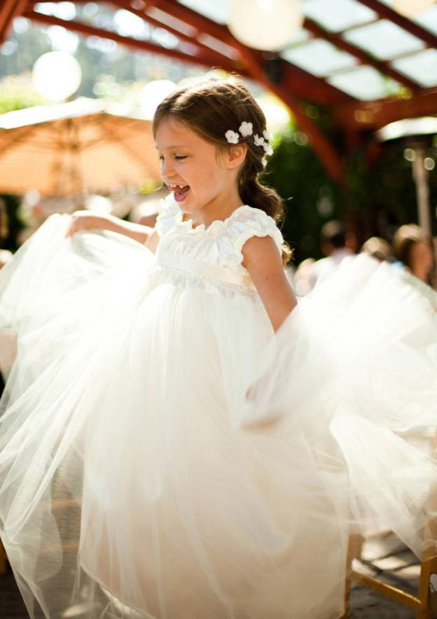 A-Line/Princess Scalloped Neck Short Sleeve Ankle-Length Chiffon Flower Girl Dress With Sashes