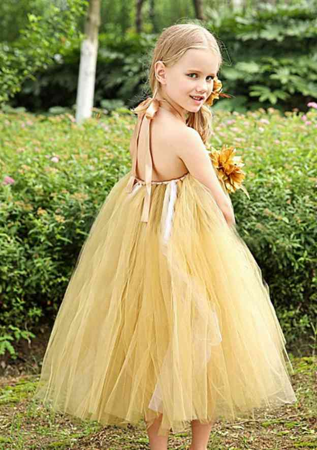 A-Line/Princess Halter Sleeveless Tea-Length Tulle Flower Girl Dress With Flowers
