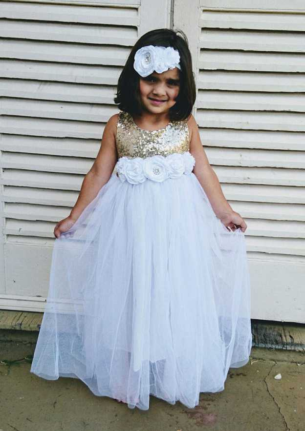 A-Line/Princess Scoop Neck Sleeveless Long/Floor-Length Tulle Flower Girl Dress With Sequins Handmade Flowers