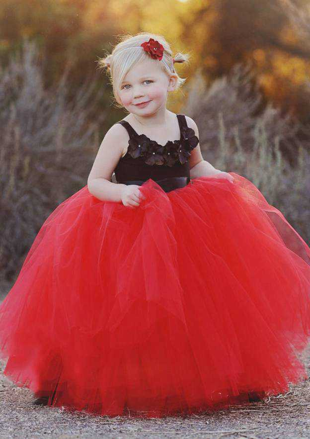 Ball Gown Square Neckline Sleeveless Long/Floor-Length Tulle Flower Girl Dress With Sashes Handmade Flowers