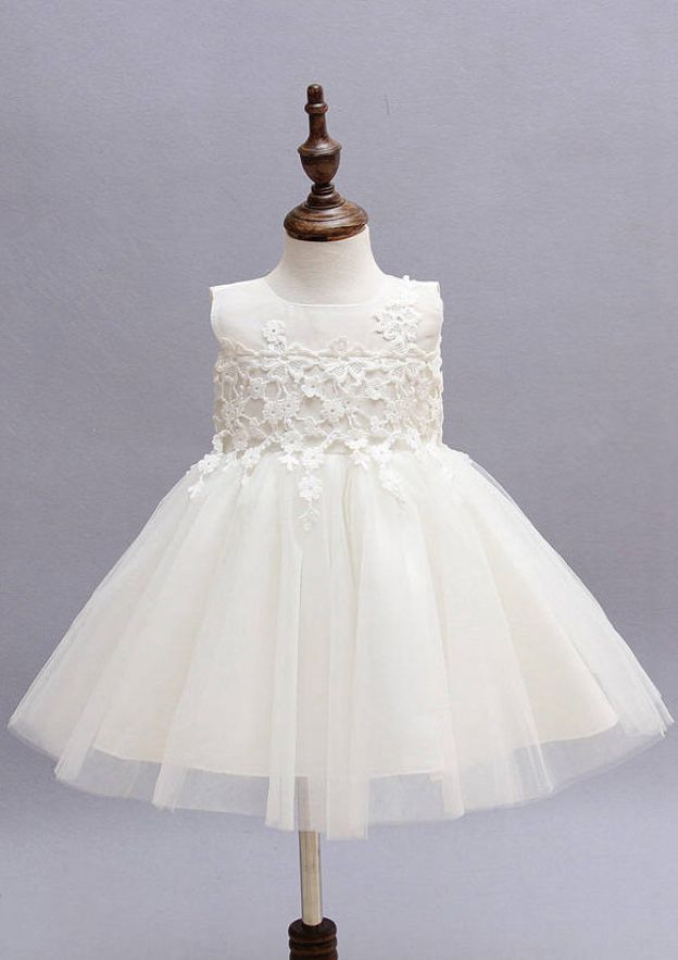 A-Line/Princess Bateau Sleeveless Tea-Length Tulle Flower Girl Dress With Appliqued Bowknot