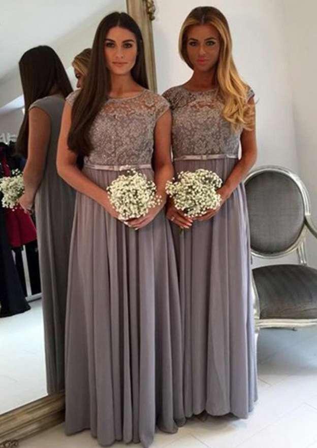A-Line/Princess Bateau Sleeveless Long/Floor-Length Chiffon Bridesmaid Dress With Sashes Appliqued
