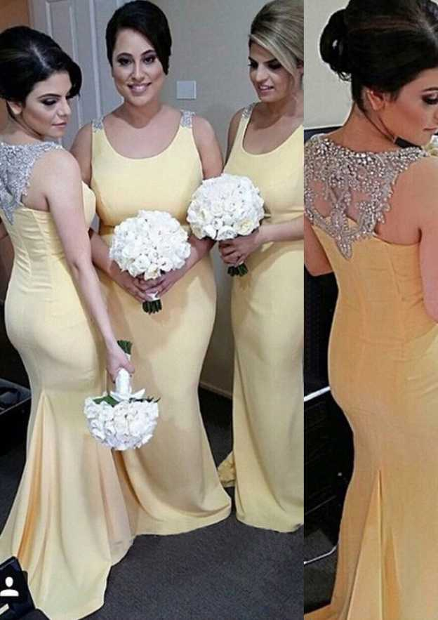 Sheath/Column Scoop Neck Sleeveless Sweep Train Chiffon Bridesmaid Dresses With Beading