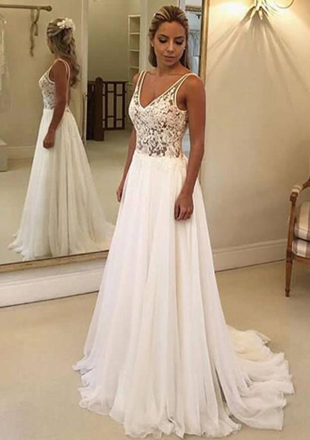 A-Line/Princess V Neck Sleeveless Sweep Train Chiffon Wedding Dress With Lace