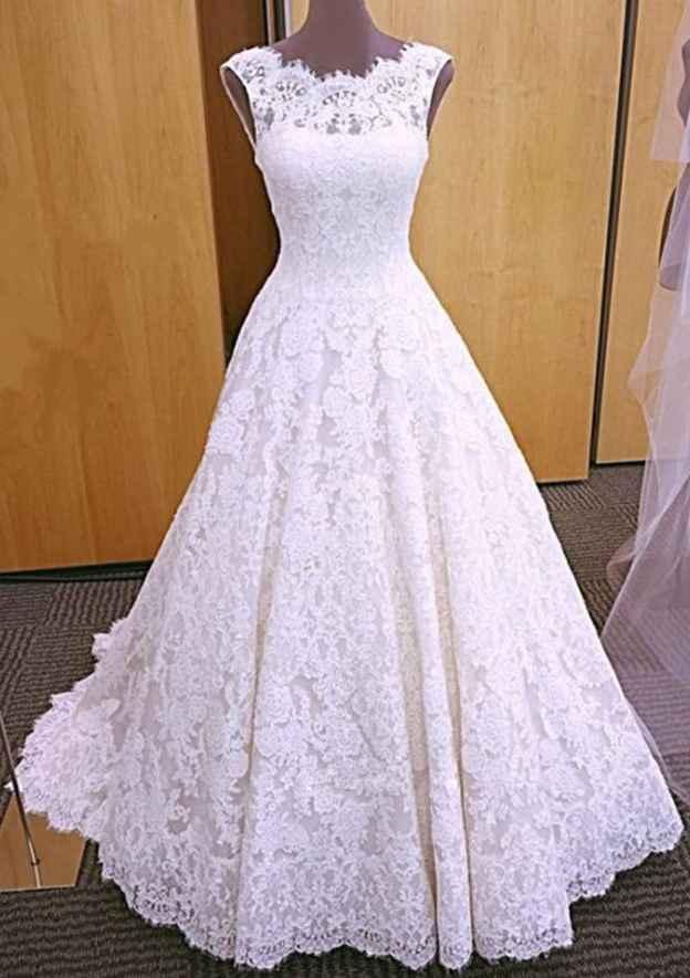 A-Line/Princess Scalloped Neck Sleeveless Court Train Lace Wedding Dress