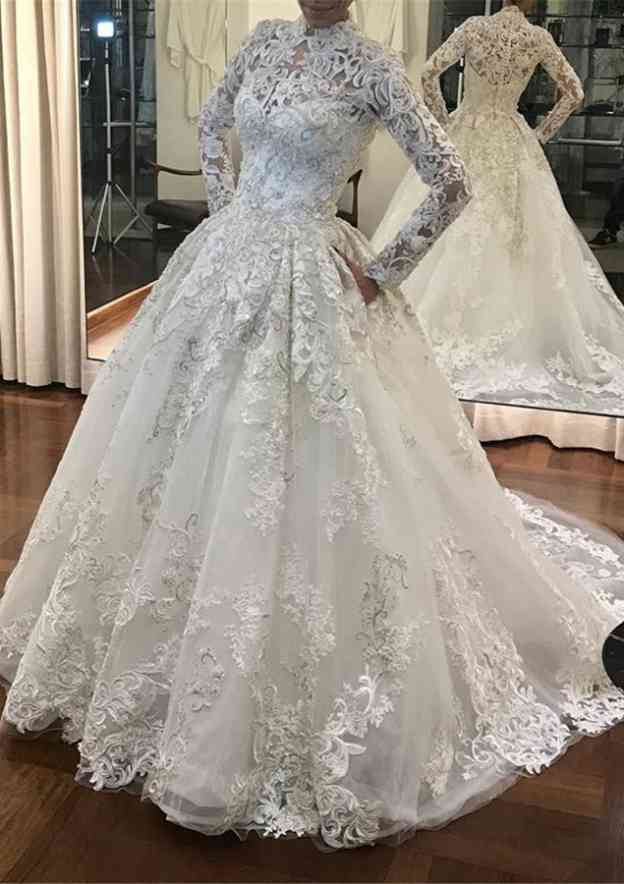 Ball Gown High-Neck Full/Long Sleeve Court Train Tulle Wedding Dress With Appliqued