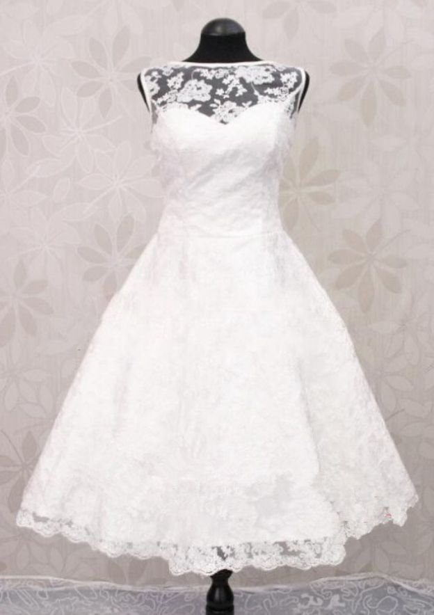 A-Line/Princess Bateau Sleeveless Knee-Length Lace Wedding Dress