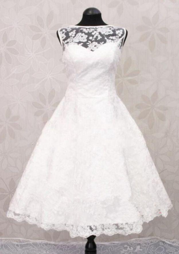 A-Line/Princess Bateau Sleeveless Knee-Length Lace Wedding Dress
