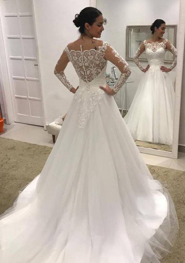 A-Line/Princess Scalloped Neck Full/Long Sleeve Court Train Tulle Wedding Dress With Lace