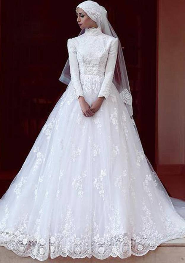 A-Line/Princess High-Neck Full/Long Sleeve Chapel Train Lace Wedding Dress With Appliqued