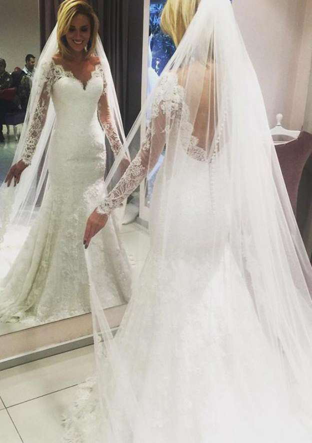 Sheath/Column Scalloped Neck Full/Long Sleeve Court Train Lace Wedding Dress With Appliqued