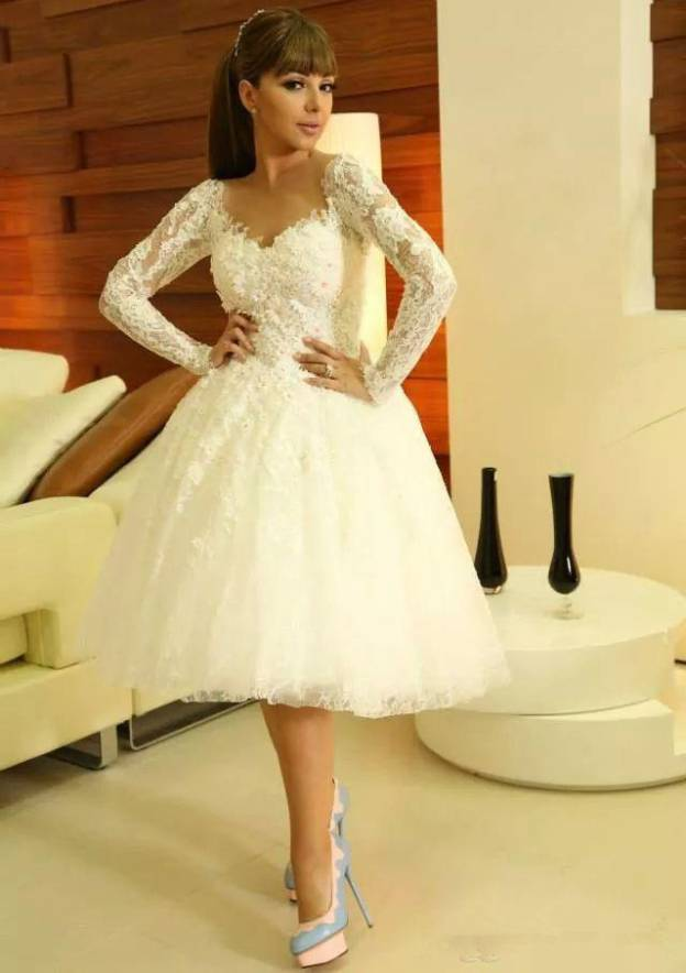 Ball Gown Scalloped Neck Full/Long Sleeve Knee-Length Lace Wedding Dress With Appliqued