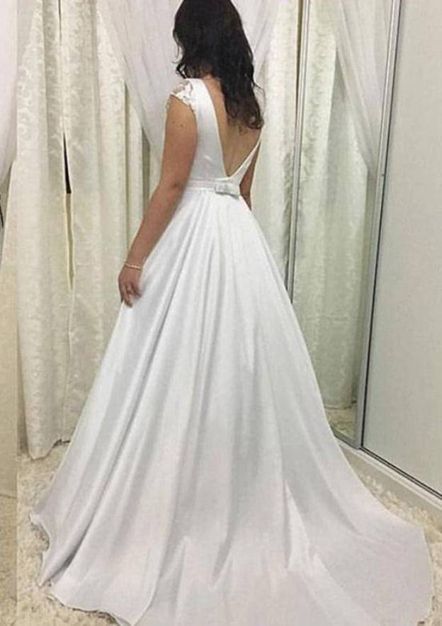 A-Line/Princess Bateau Sleeveless Sweep Train Satin Wedding Dress With Waistband Lace