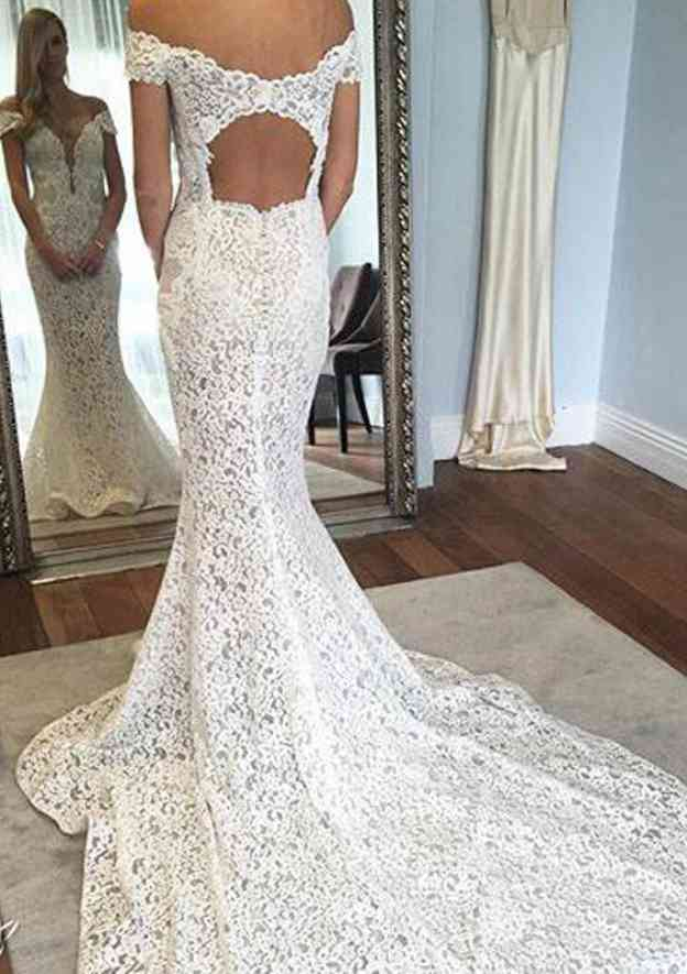 Trumpet/Mermaid Off-The-Shoulder Sleeveless Chapel Train Lace Wedding Dress