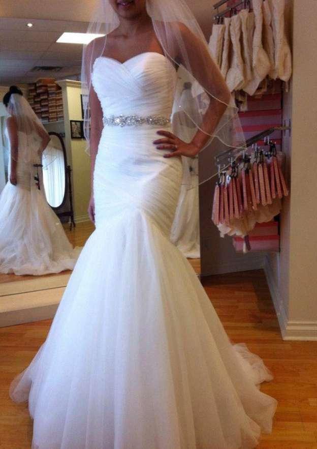 Sheath/Column Sweetheart Sleeveless Court Train Tulle Wedding Dress With Pleated Waistband