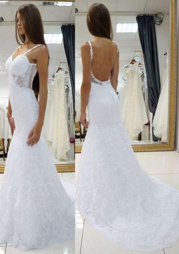 Sheath/Column Sweetheart Sleeveless Court Train Lace Wedding Dress