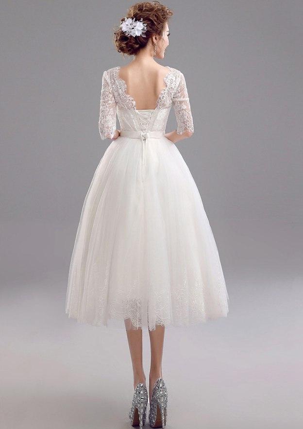 A-Line/Princess V Neck Half Sleeve Tea-Length Tulle Wedding Dress With Lace
