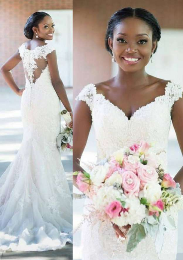 Sheath/Column V Neck Sleeveless Sweep Train Lace Wedding Dress With Appliqued