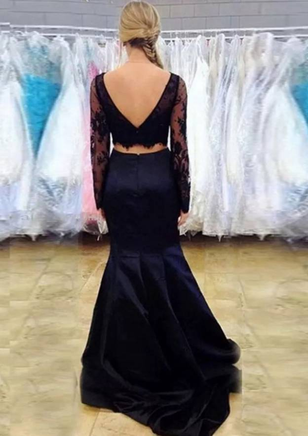Trumpet/Mermaid Bateau Full/Long Sleeve Sweep Train Satin Prom Dress With Lace