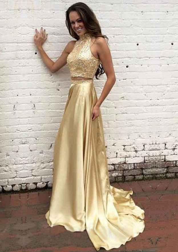 A-Line/Princess High-Neck Sleeveless Court Train Charmeuse Prom Dress With Beading