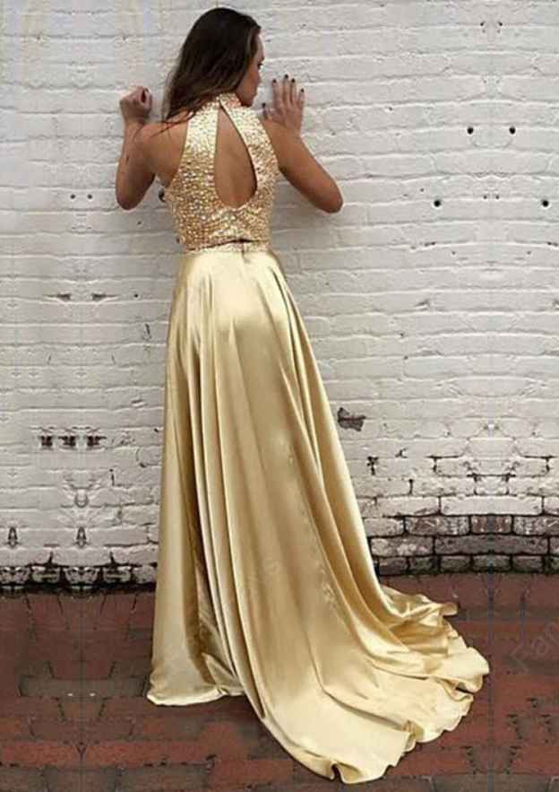 A-Line/Princess High-Neck Sleeveless Court Train Charmeuse Prom Dress With Beading