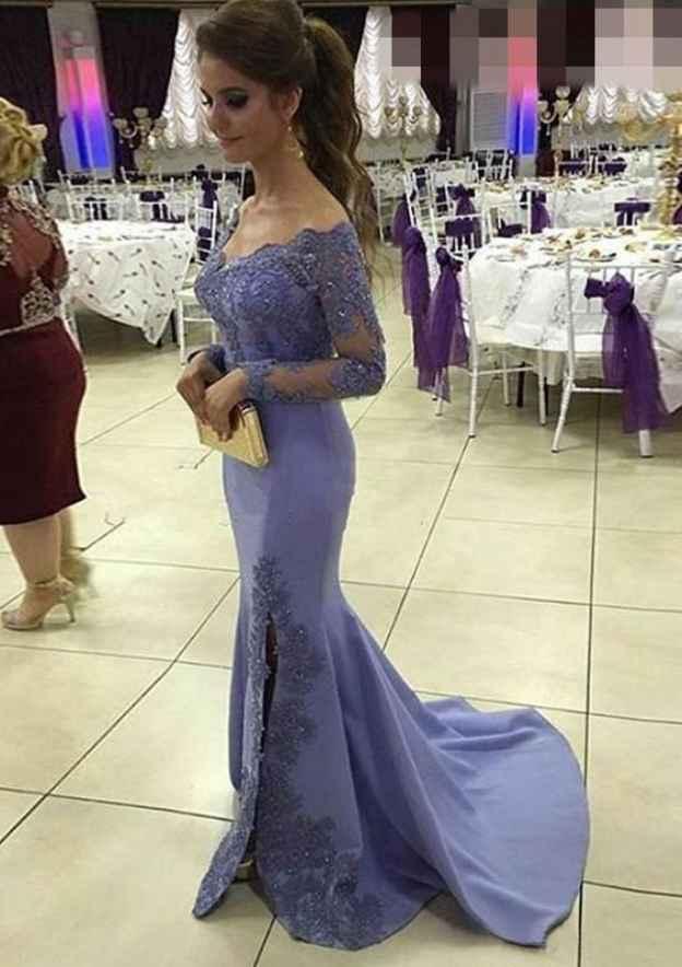 Trumpet/Mermaid V Neck Full/Long Sleeve Sweep Train Elastic Satin Prom Dress With Appliqued Beading Split