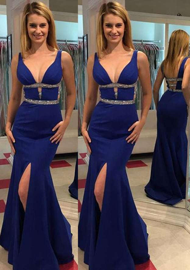 Sheath/Column V Neck Sleeveless Long/Floor-Length Elastic Satin Prom Dress With Split Rhinestone