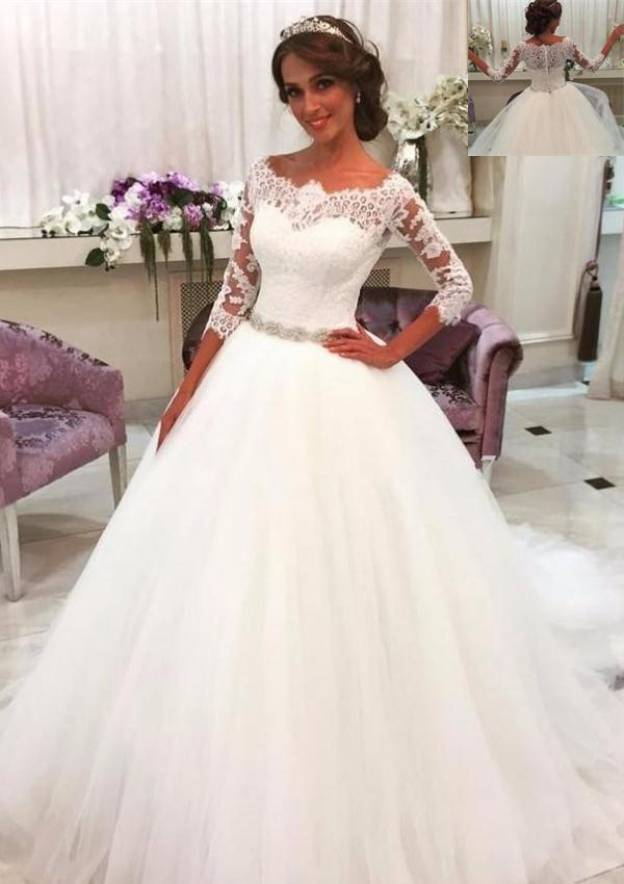 Ball Gown Bateau 3/4 Sleeve Court Train Tulle Wedding Dress With Lace Waistband