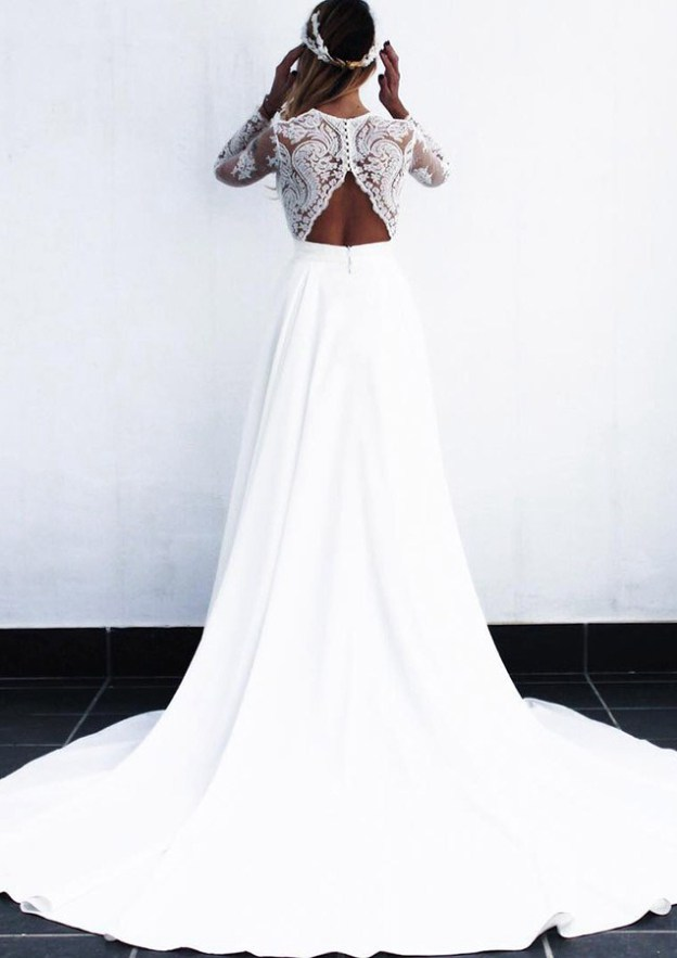 A-Line/Princess V Neck Full/Long Sleeve Court Train Elastic Satin Wedding Dress With Lace