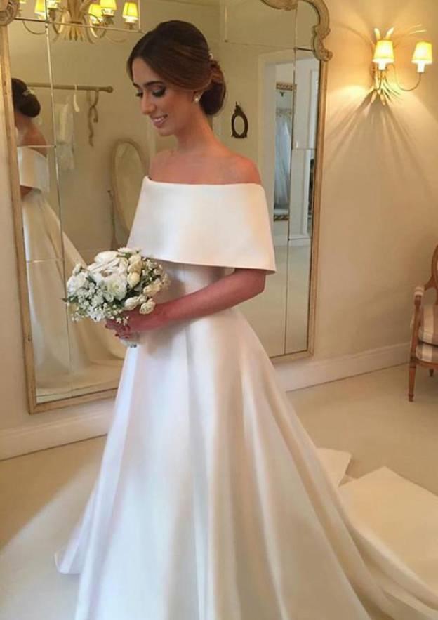 A-Line/Princess Off-The-Shoulder Half Sleeve Court Train Satin Wedding Dress