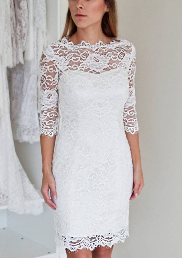 Sheath/Column Bateau Half Sleeve Knee-Length Lace Wedding Dress