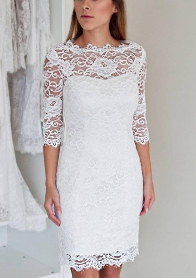 Sheath/Column Bateau Half Sleeve Knee-Length Lace Wedding Dress