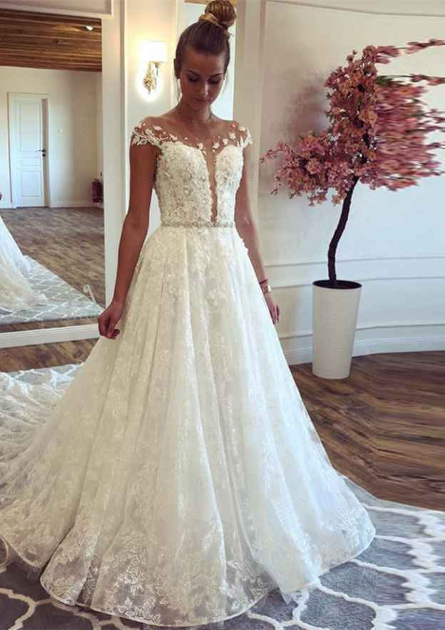 A-Line/Princess Scoop Neck Sleeveless Court Train Lace Wedding Dress With Appliqued Waistband