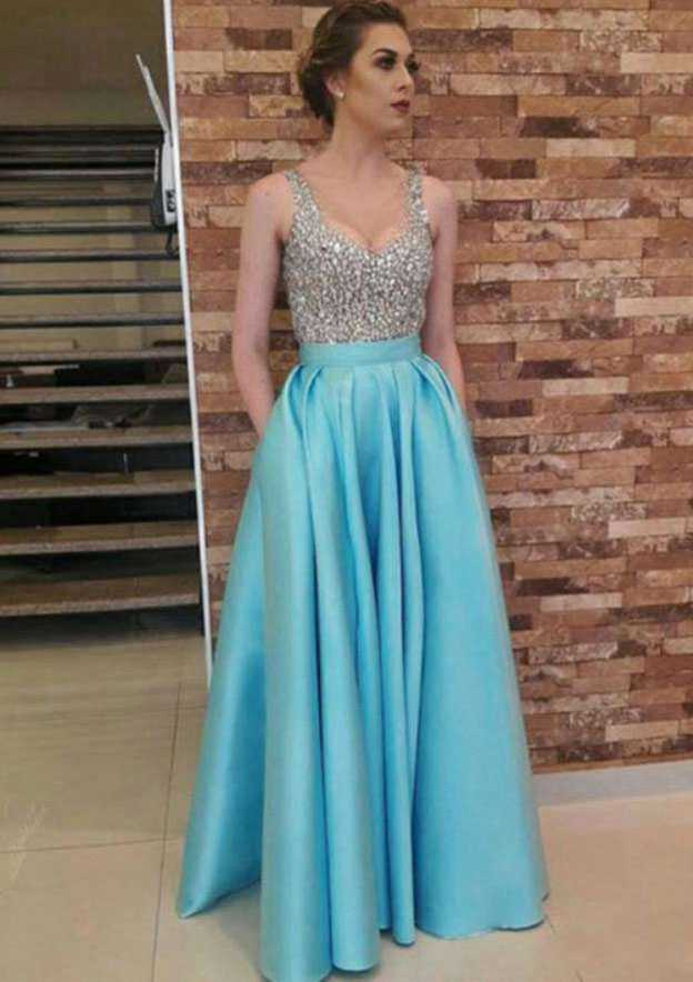 A-Line/Princess Sweetheart Sleeveless Long/Floor-Length Satin Prom Dress With Beading Pockets