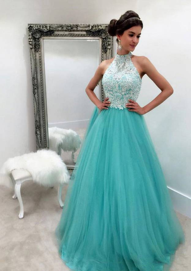 Ball Gown Halter Sleeveless Long/Floor-Length Tulle Prom Dress With Lace Appliqued