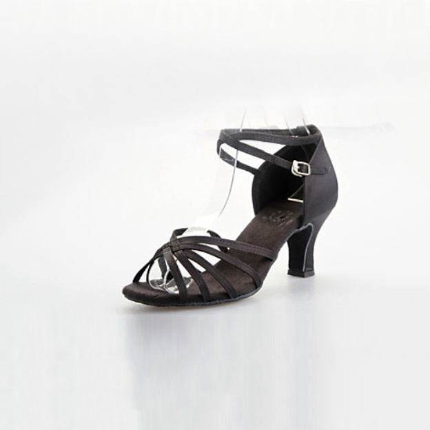 Kitten Heel Satin Shoes With Buckle Braided Strap
