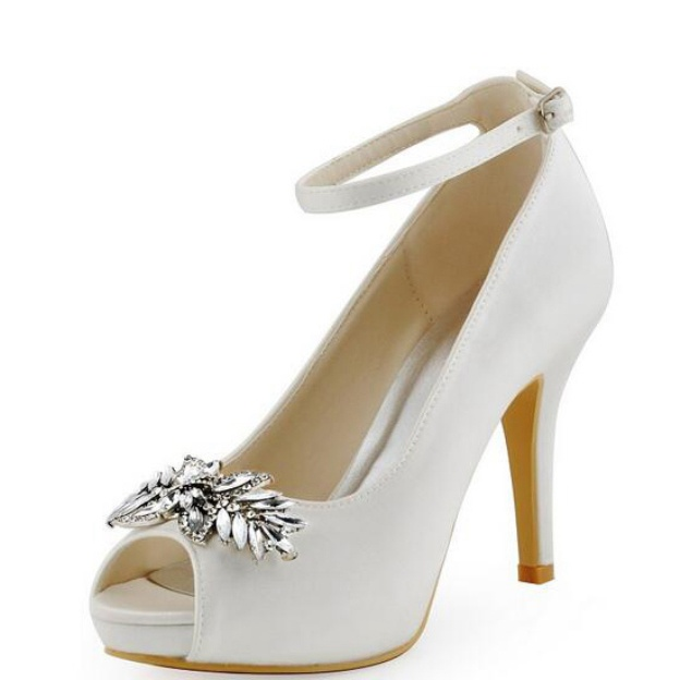 Peep Toe Platform Pumps Stiletto Heel Satin Wedding Shoes With Buckle Crystal