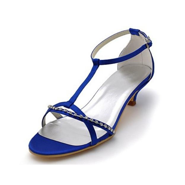 Peep Toe Sandals Kitten Heel Satin Wedding Shoes With Buckle Rhinestone