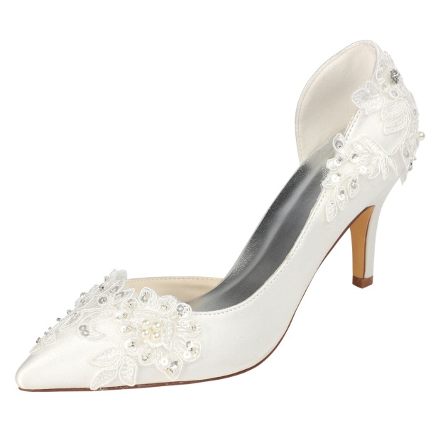 Wedding Shoes Pumps Close Toe Stiletto Heel Satin Wedding Shoes With Sequins Appliqued Imitation Pearl