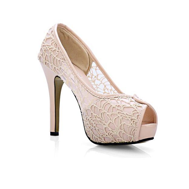 Peep Toe Pumps Stiletto Heel Lace Shoes