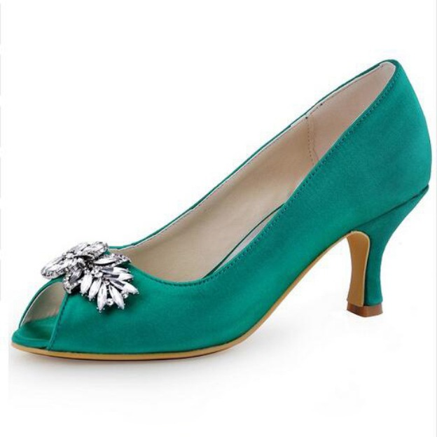 Peep Toe Pumps Spool Heel Satin Wedding Shoes With Crystal Rhinestone