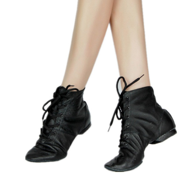 Close Toe Ankle Boots Flat Heel Leather Dance Shoes
