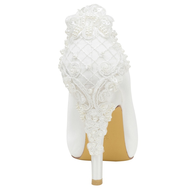 Peep Toe Platform Pumps Stiletto Heel Satin Wedding Shoes With Appliqued Imitation Pearl