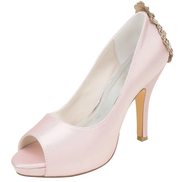 Peep Toe Platform Pumps Stiletto Heel Satin Wedding Shoes With Crystal