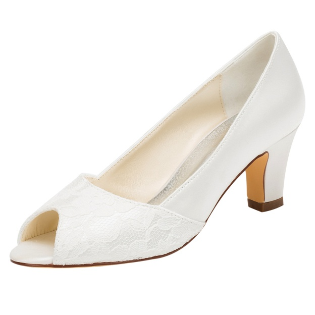 Peep Toe Wedding Shoes Low Heel Satin Wedding Shoes With Lace