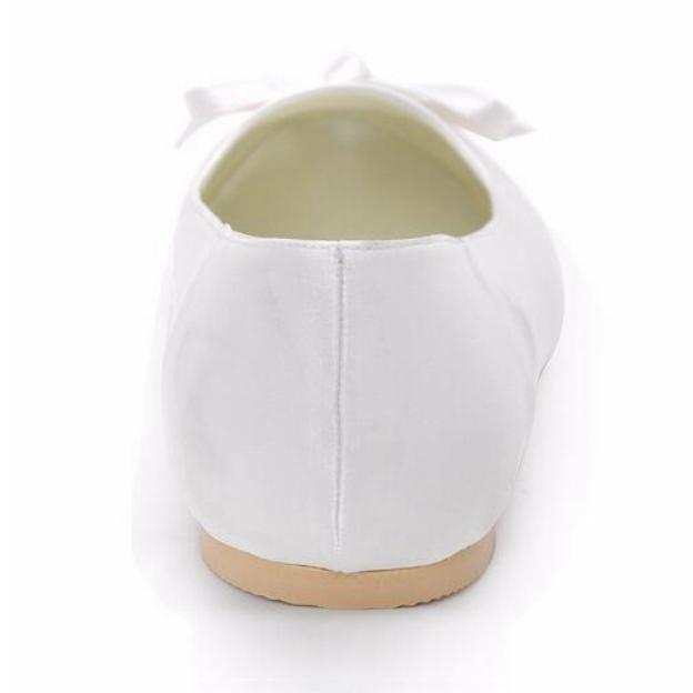 Close Toe Flats Round Toe Flat Heel Satin Wedding Shoes With Bowknot