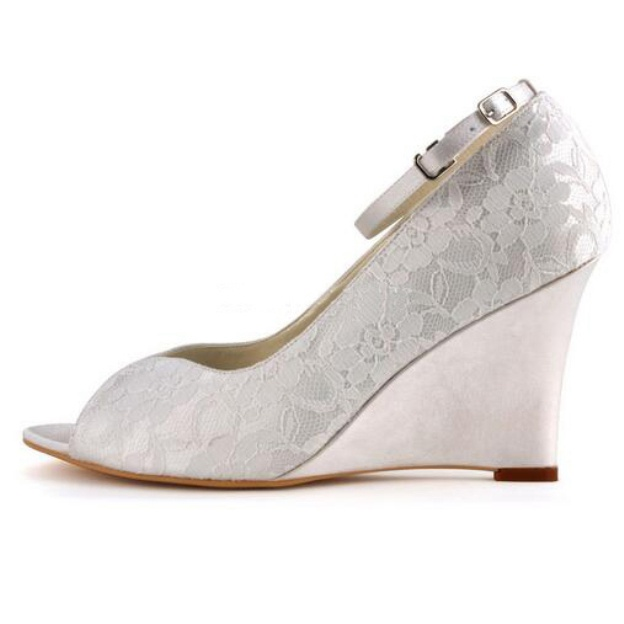 Peep Toe Wedges Wedge Heel Lace Wedding Shoes With Buckle