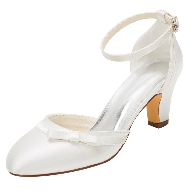 Close Toe Wedding Shoes Round Toe Chunky Heel Satin Wedding Shoes With Bowknot