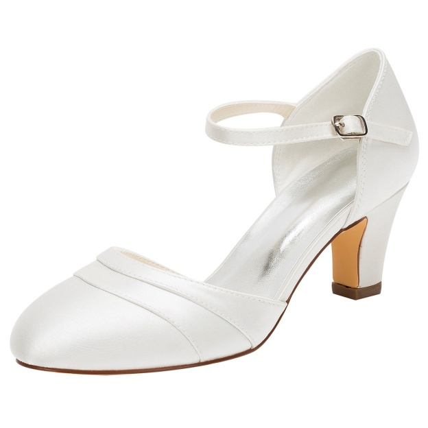 Close Toe Wedding Shoes Round Toe Chunky Heel Satin Wedding Shoes With Buckle